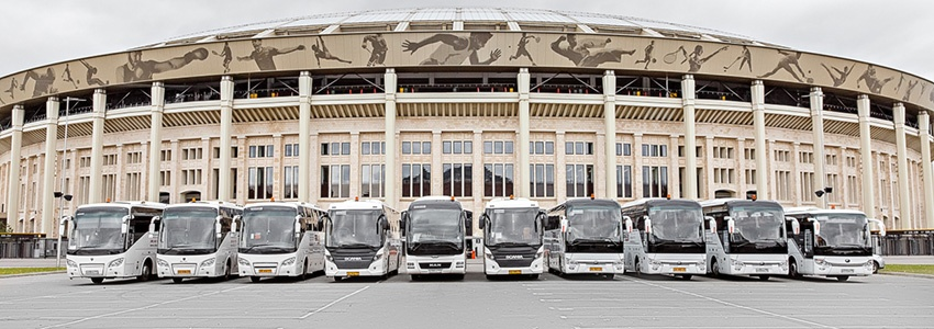 Book and rent a bus in Moscow and Saint Petersburg. Coach hire in Moscow